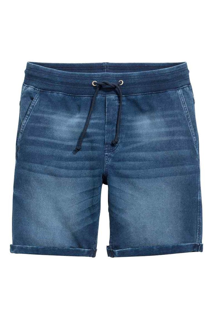 Calções com aparência de ganga - Azul escuro washed out - HOMEM | H&M PT