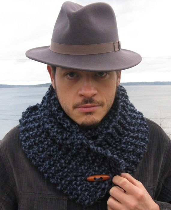 Men's Blue Scarf Cowl Wool Order this weekend and by Gypseatree, $37.00