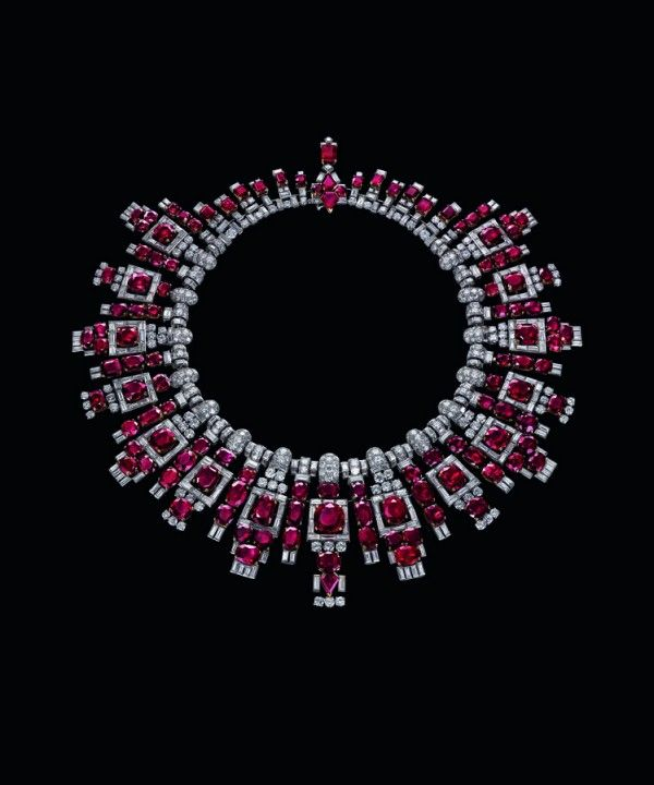 Collier de rubis de Nawanagar, Cartier, 1937, Platine, rubis, diamants. © Christie's Images Ltd