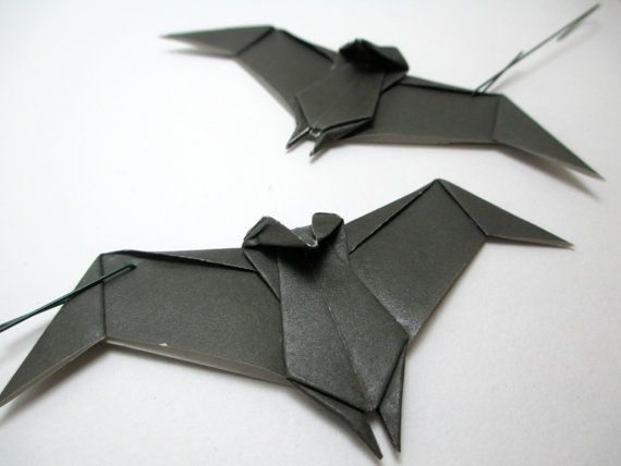 two origami bat ornaments paper bat holiday ornaments gothic art halloween ornaments halloween decorations