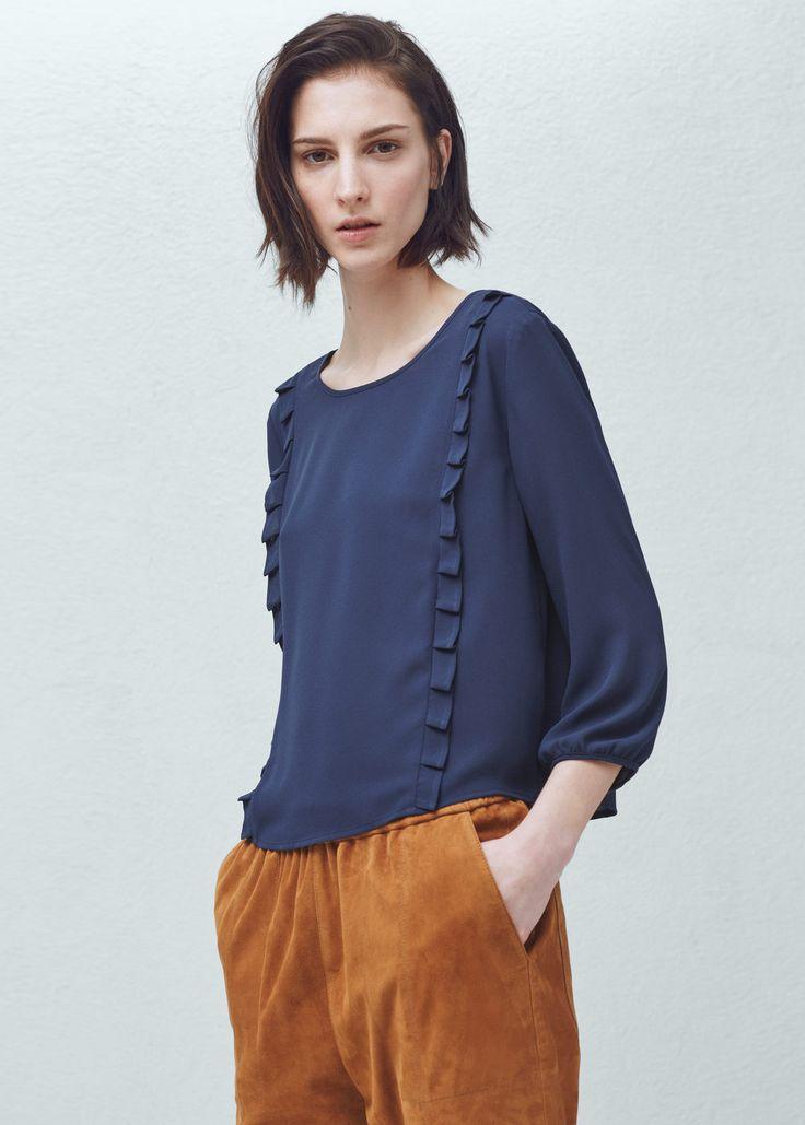Blusa ribetes plisados - Camisas de Mujer | MANGO Chile