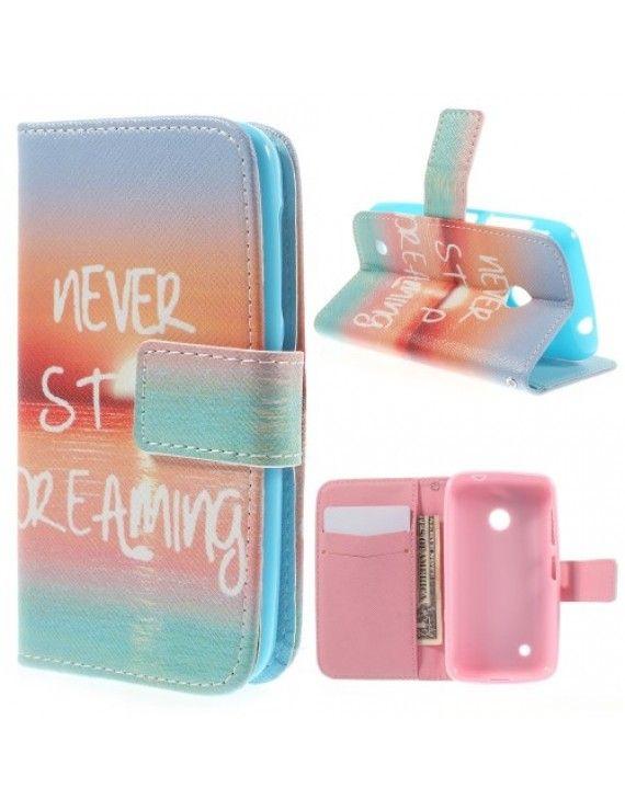 Δερμάτινη Θήκη Πορτοφόλι με Βάση Στήριξης για Nokia Lumia 530 RM-1017 - Never Stop Dreaming
