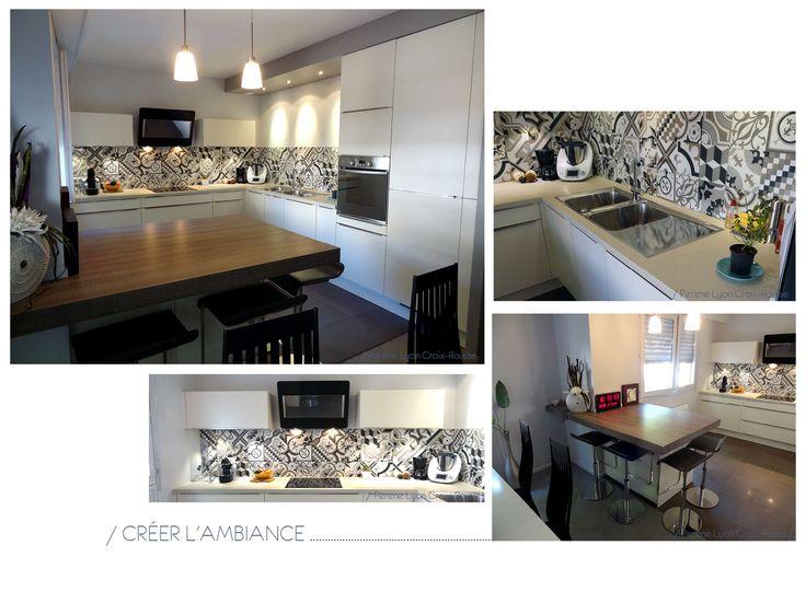 - Courants d'Arts Perene - Cuisine blanche, carreaux de ciments, plans de travail quartz blanc, hotte inclinée,