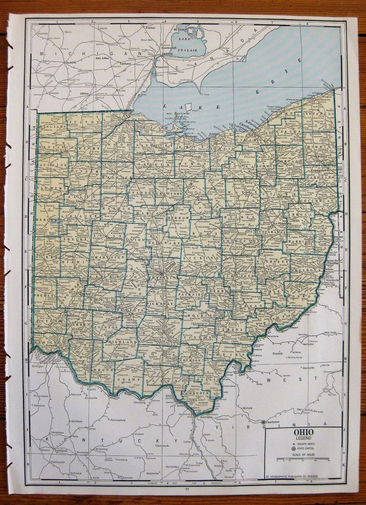 Rare Size OHIO State Map Neat Vintage 1937 Uncommon Map of Ohio 6183 ...
