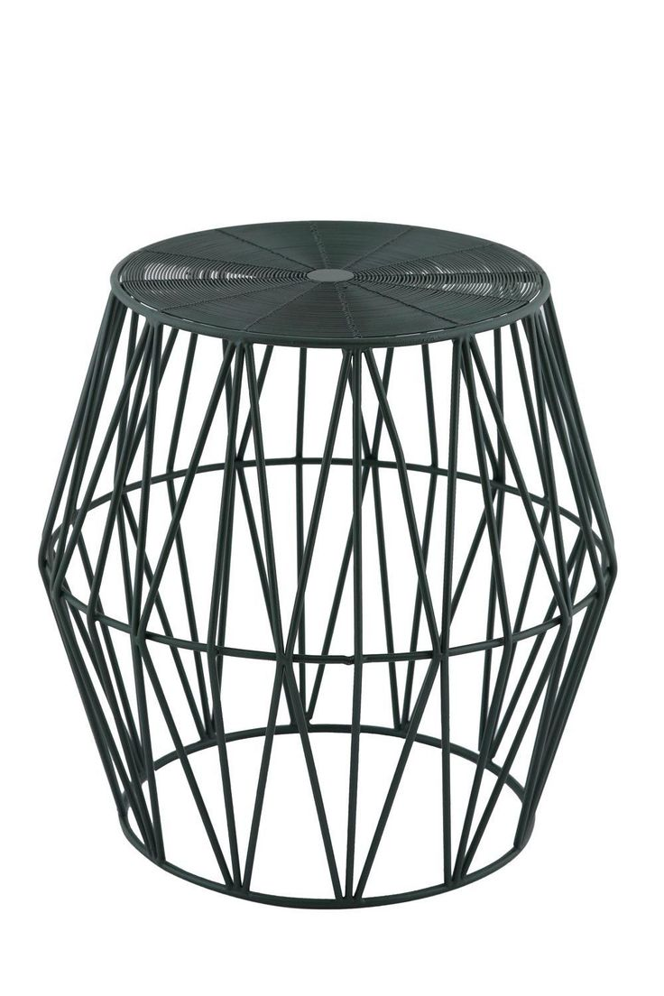 Isha Modern Designer Wire Side $149 Table - Green -  Made from sturdy iron for a solid structure that will last you for years to come. Different lines make out interesting shapes and designs for a standout piece. Shine with metallic and pastel colours for a bright accent!