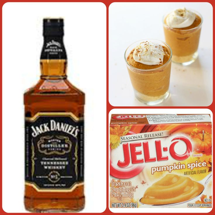 Jacked Up Pumpkin Pudding Shots  1 small Pkg. pumpkin spice instant pudding ¾ Cup Milk 3/4 Cup Jack Jack Daniel's Tennessee Whiskey 8oz tub Cool Whip  Directions 1. Whisk together the milk, liquor, and instant pudding mix in a bowl until combined. 2. Add cool whip a little at a time with whisk. 3.Spoon the pudding mixture into shot glasses, disposable shot cups or 1 or 2 ounce cups with lids. Place in freezer for at least 2 hours