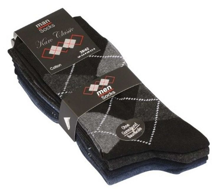 Klassische Karo Socken im 4er Pack