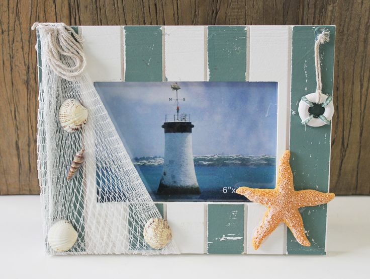 California Seashell Company Retail - Nautical 4 x 6 Picture Frame with Fish Net, $8.99 (http://www.caseashells.com/nautical-4-x-6-picture-frame-with-fish-net/)