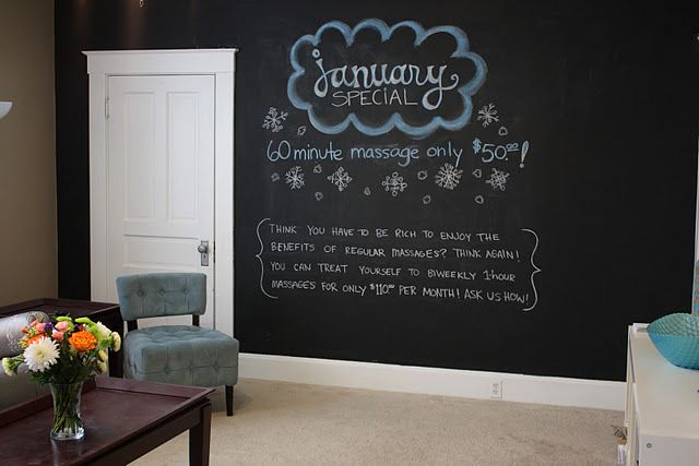 Massage studio waiting room chalkboard wall with monthly specials...I might not do a whole wall, perhaps just a large framed area?