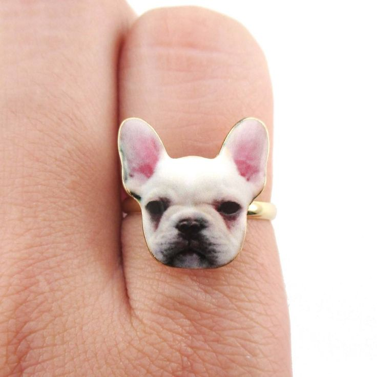 - Description - Details An adjustable ring made in the shape of a white French Bulldog puppy's face! Matching earrings available, also on sale! Store FAQ | Shipping Info | Returns & Exchanges Size: Ad                                                                                                                                                                                 More