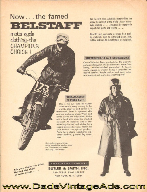 1965 Belstaff motorcycle clothing – the champions choice!