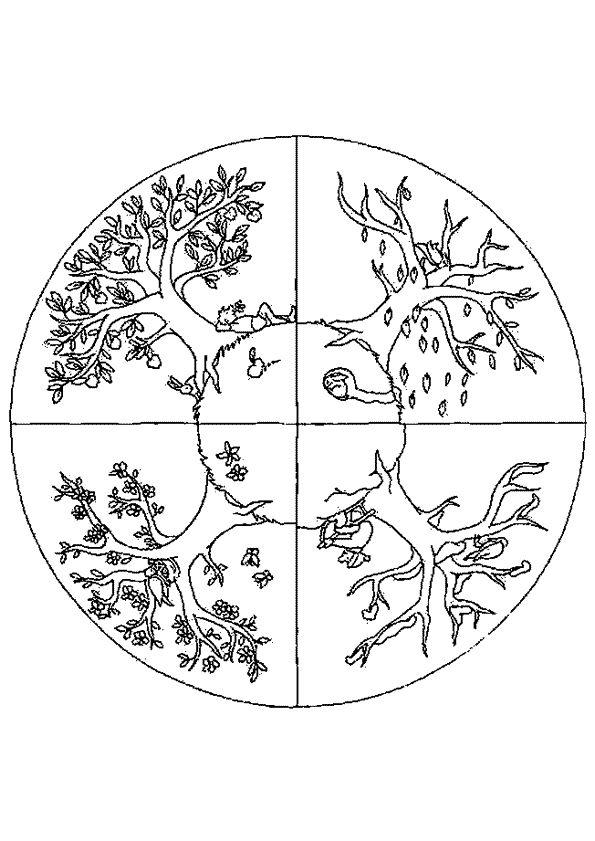 Kleurplaat Mandala kleurplaten (5289) | boom verschillende jaargetijden