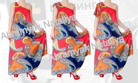 36$ Штапельный сарафан и платье свободного покроя для полных девушек с открытым плечом, со стяжкой и без стяжки под грудью, с короткими рукавами Артикул 779,р50-64