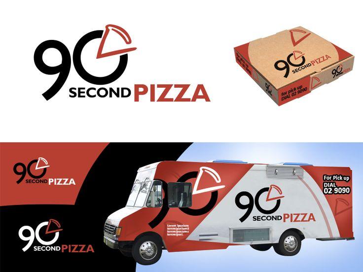 Graphic Design by darwinski for 90 Second Pizza #pizza #logo #design #DesignCrowd #fastfoodlogo