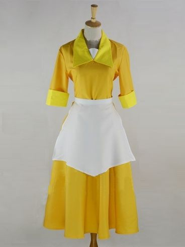 The Princess and the Frog Tiana Yellow waitress uniform Cosplay Costume