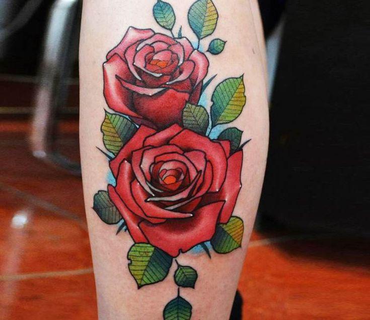 Red Roses Tattoo By Andrey Vinokurov Post 20978 Traditional Rose Tattoos Red Rose Tattoo Rose Tattoos