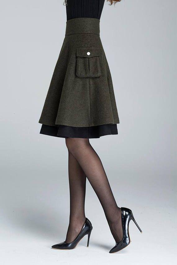 Short wool skirt, winter skirt, layered skirt, skater skirt, womens skirt, pleated wool skirt, patchwork skirt, green skirt 1627#