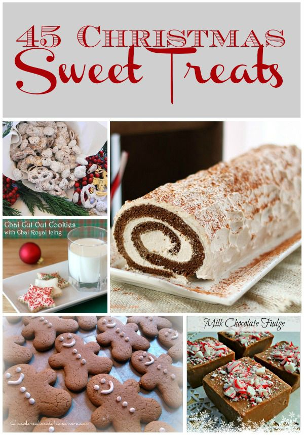 Christmas- 45 Christmas Sweet Treats from LifeAfterLaundry.com Oh and by the way, since Christmas and thanksgiving are rounding near, I will be pinning lots of cheerful and delicious pins. Follow my board 'Holidays' to get all of my Christmas and thanksgiving pins!