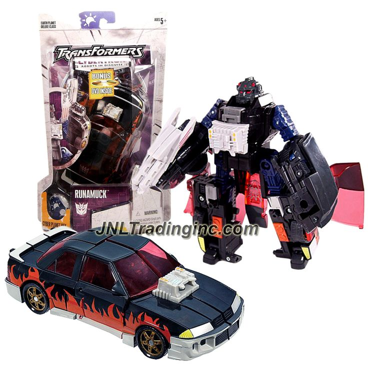 "Hasbro Transformers Cybertron Series Deluxe Class 6"" Tall Figure - Decepticon RUNAMUCK with Pop-Up Tail Gun and Cyber Key (Vehicle Mode: Muscle Car)"