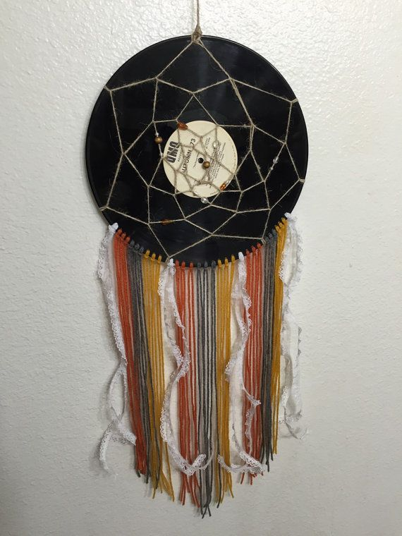 Recycled Vinyl Record Dreamcatcher by FieldofThread on Etsy