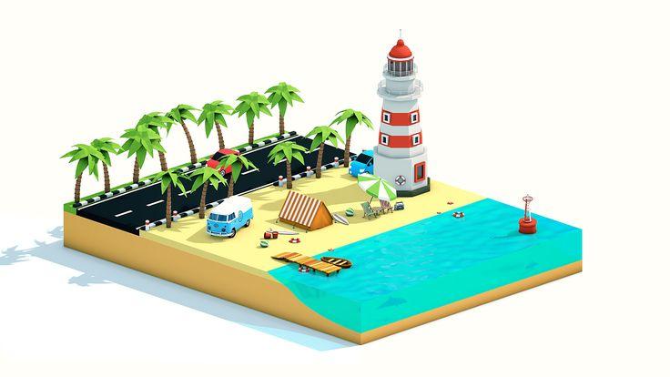 Isometric Low-poly Beach Scene on Behance