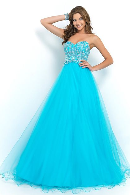 Blue Prom Dresses 2015 With Straps