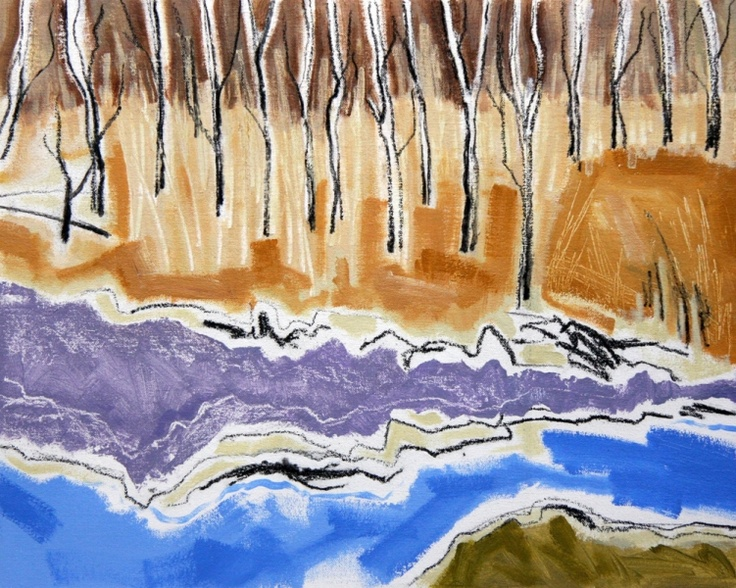Trees by a stream - Borrowdale - Along most of the fast running streams that meander down the steep lakeside hills are birch and larch trees. £400.00