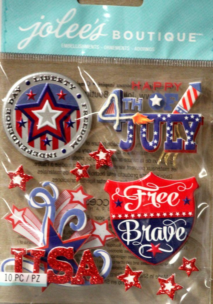 EK Success Jolee's Boutique Patriotic Words Dimensional Scrapbook Stickers