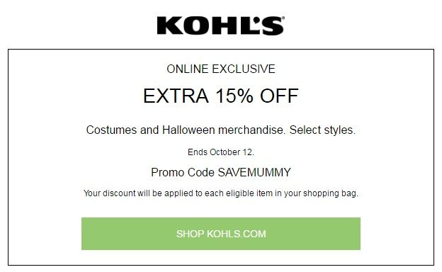 Kohls 30 OFF Coupon Code Extra 15% Off Costume And Halloween Purchase » Redeem now ➡ http://fave.co/1tRiHGT  #Halloween #Kohls