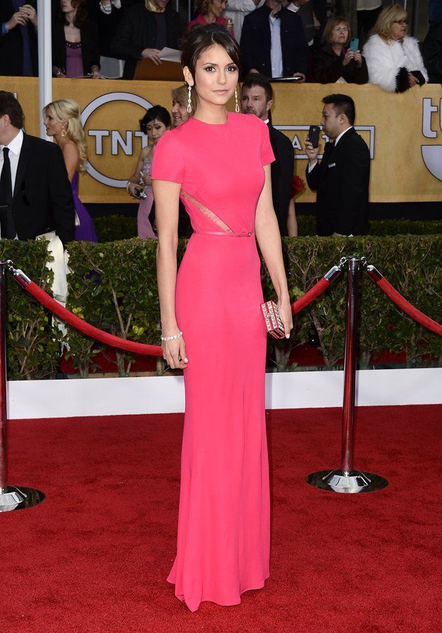 Nina Dobrev arrives at the 19th Annual Screen Actors Guild Awards at the Shrine Auditorium in Los Angeles, CA on January 27, 2013.