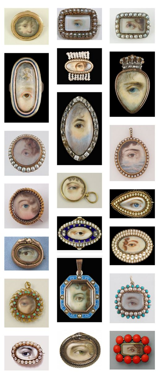 "c.1790-1820: Georgian Eye Jewellery ""Eye miniatures came into fashion at the end of the 18th century. In France, where eye miniature seems to have originated, the eye as symbol of watchfulness was adopted by the state police for buckles and belts. In Britain it had a role as a love token, with some eye miniatures glistening with a trompe-l'oeil tear, or a diamond set to imitate a tear.  V and A M"