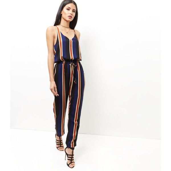 New Look Mela Blue Stripe Jumpsuit (£28) ❤ liked on Polyvore featuring jumpsuits, blue pattern, patterned jumpsuit, blue jumpsuit, white jumpsuit, white jump suit and striped jumpsuit