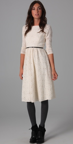 eyelet dress: Dreams Closet, Boats Neck, Embroidered Dresses, White Lace, Black Tights, Eyelet Dresses, White Dresses, Lace Dresses, Neck Embroidered