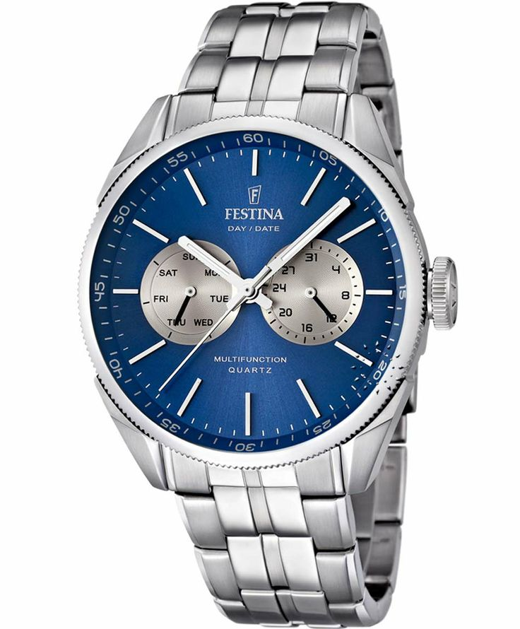 FESTINA Multifunction Stainless Steel Bracelet Blue Dial Τιμή: 148€ http://www.oroloi.gr/product_info.php?products_id=38804