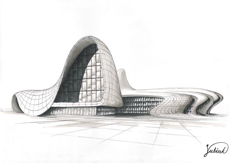 Heydar Aliyev Center- 50x35cm, fineliner and promarkers.