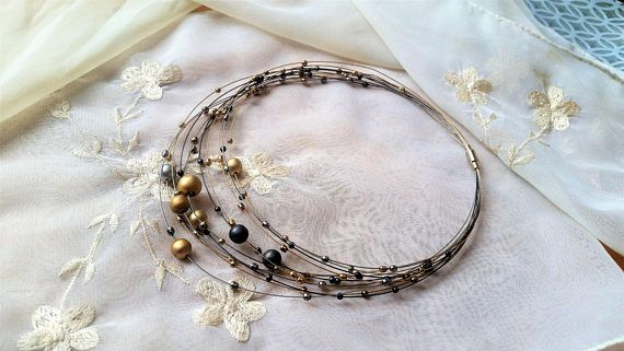 Vintage 1980's multi-strand cable wire necklace  metal