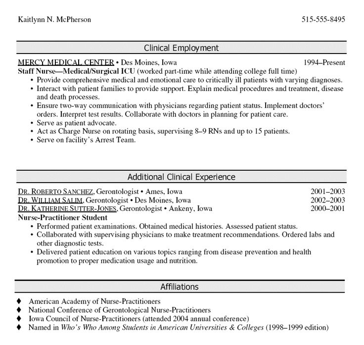 Oncology nurse sample resume