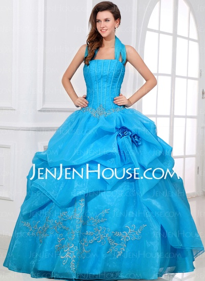 Quinceanera Dresses - $206.69 - Ball-Gown Halter Floor-Length Organza Quinceanera Dresses With Embroidered Beading (021017322) http://jenjenhouse.com/Ball-Gown-Halter-Floor-Length-Organza-Quinceanera-Dresses-With-Embroidered-Beading-021017322-g17322