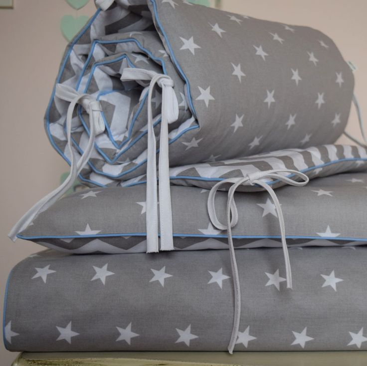 100%COTTON Cot Bed Duvet Cover Set Boys Grey  Stars Chevron baby blue  piping