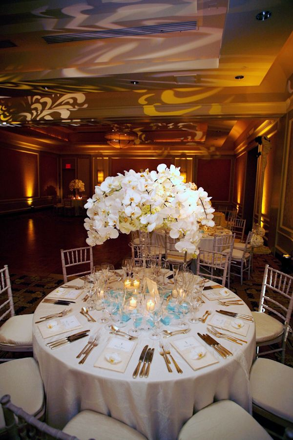 251 best inspiring ideas images on pinterest wedding ideas white wedding floral table decor with blue and gold accents photo by merri cyr weddings junglespirit Choice Image