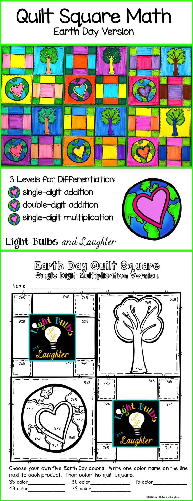 Earth Day math quilt squares!  Addition and Multiplication... Makes a beautiful display =)  TpT$