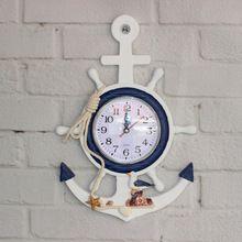 В Средиземноморском стиле деревянные настенные часы колокол якорь рулевой форма детская комната персонализированные настенные часы(China (Mainland))