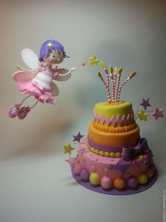 Коллекционные куклы ручной работы. Ярмарка Мастеров - ручная работа. Купить фея и тортик. Handmade. Розовый, Свечи, крылья, волшебный