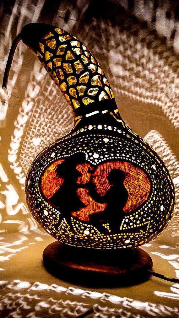 100% HANDMADE Gourd lamp art deco handcrafted halloween