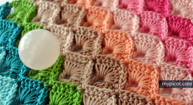 MyPicot | Free crochet patterns  Box stitch tutorial for multi color, single color, two color, and to make a square blanket