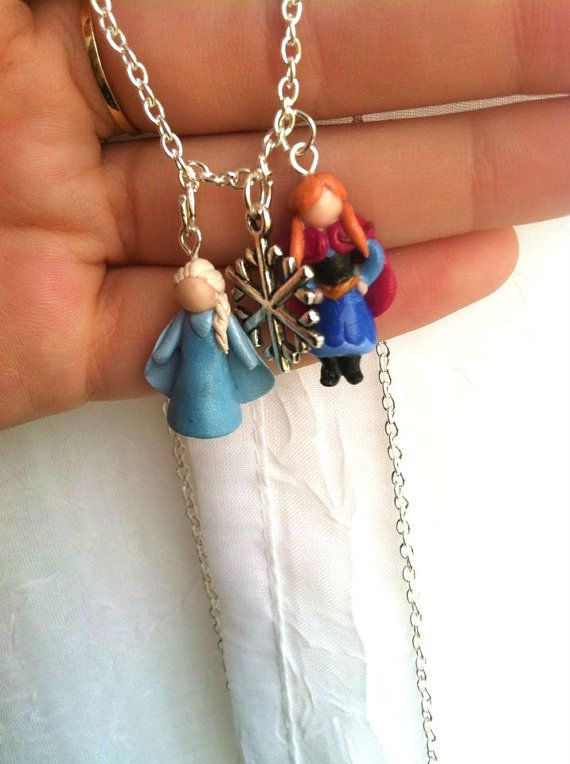 Disney's Frozen Polymer Clay Charm Necklace! Anna and Elsa with Snowflake Charm on Etsy, $17.50