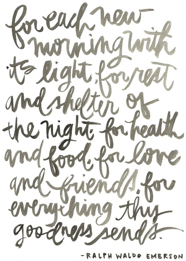 for each new morning with its light, for rest and shelter of the night, for health and food, for love and friends, for everything thy goodness senses. - Ralph Waldo Emerson