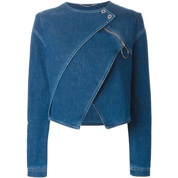 Kenzo Layered Denim Jacket (6.415 HRK) found on Polyvore featuring outerwear, jackets, tops, coats, coats & jackets, blue, long sleeve jacket, long sleeve jean jacket, zipper jean jacket and blue cropped jacket