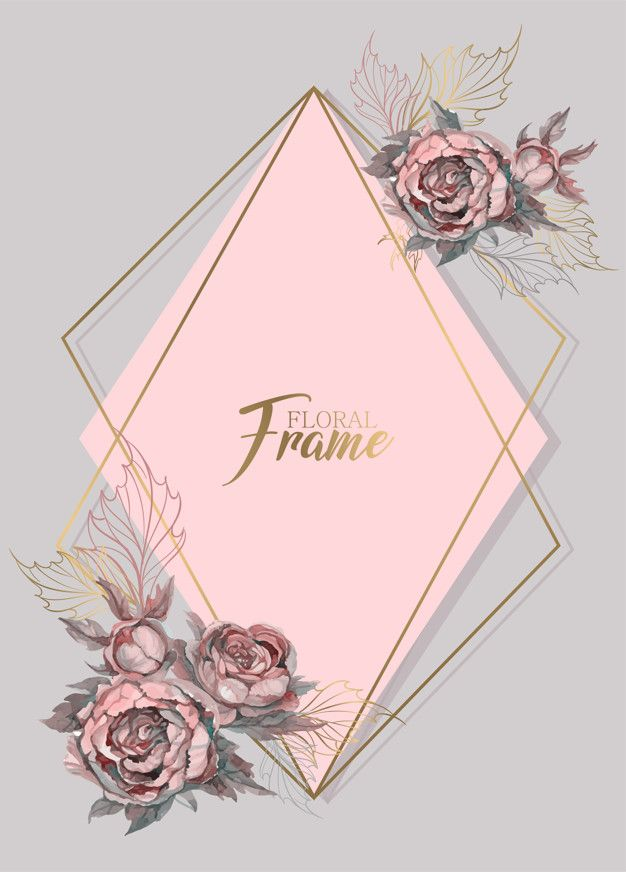Geometric Frame Wedding Invitation With Watercolor Flowers Watercolor Flowers Iphone Wallpaper Tumblr Aesthetic Flower Phone Wallpaper
