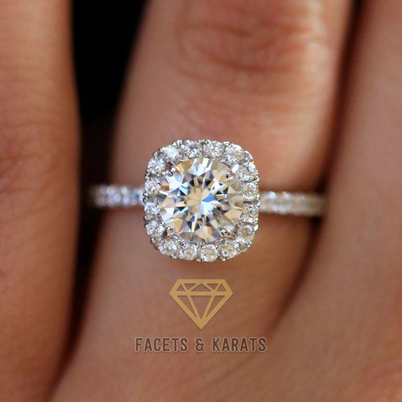 e56a6fe12e86 18k White Gold Cushion Cut Halo Engagement Ring 2 Carat Round